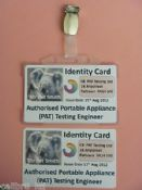 PAT Tester's I.D. Card Set, Custom Made With Your Photo & Company Details